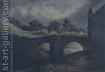 Brecon Town and Bridge by Benjamin Barker - Reproduction Oil Painting