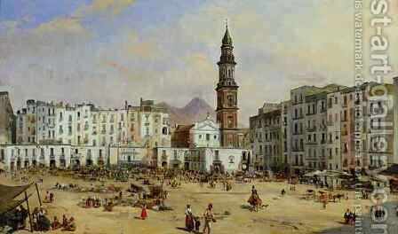 Piazza Mazaniello, Naples by Jean Auguste Bard - Reproduction Oil Painting