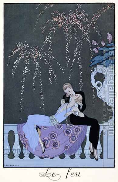 The Fire, illustration for 'Fetes Galantes' by (after) Barbier, Georges - Reproduction Oil Painting