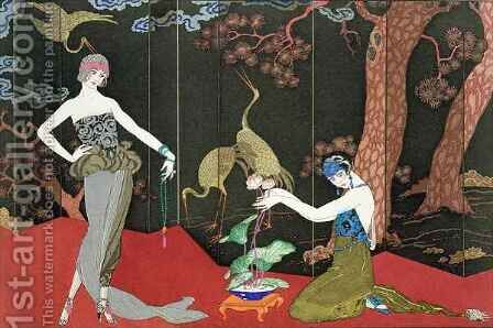 The Fashion for Lacquer by (after) Barbier, Georges - Reproduction Oil Painting
