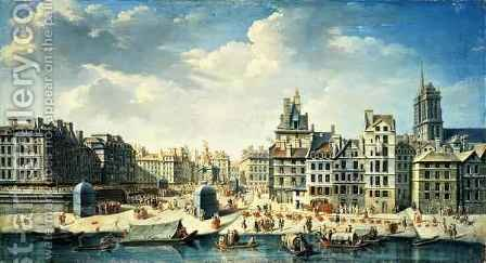 A square on the banks of the Seine in Paris by J. Baptiste - Reproduction Oil Painting