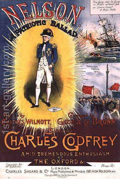 Front cover of the music score for 'Nelson, A Patriotic Ballad' by H. G. Banks - Reproduction Oil Painting
