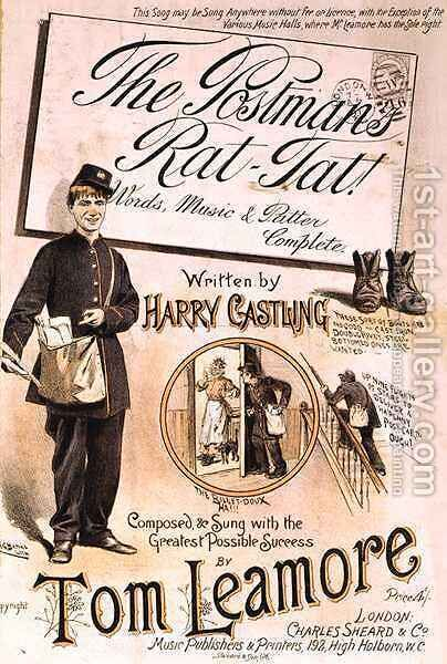 Front cover of the music score for 'Postman's Rat-Tat' by H. G. Banks - Reproduction Oil Painting
