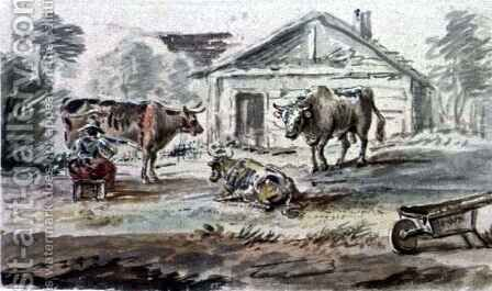 Cattle standing before a Cottage by Coplestone Warre Bampfylde - Reproduction Oil Painting