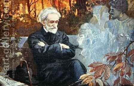 Postcard depicting Giuseppe Verdi (1813-1901) composing the opera 'Otello' by (after) Balestrieri, Lionello - Reproduction Oil Painting