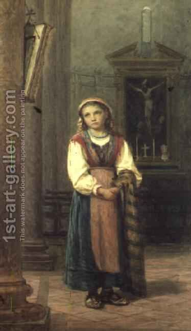 Italian Girl in church by Edwin Bale - Reproduction Oil Painting