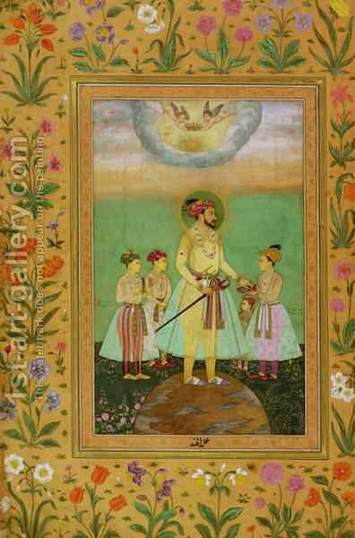 Shah Jahan (1592-1666) Stands on a Large Globe Surrounded by his Four Children by Balchand - Reproduction Oil Painting