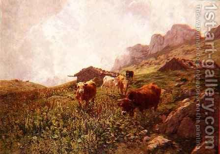 Cattle in an Alpine Landscape by Hermann Baisch - Reproduction Oil Painting