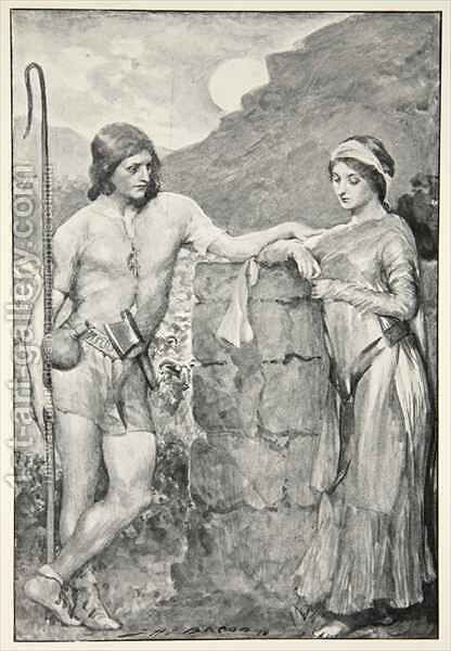 Olaf and Sigrid, from 'Hero Myths and Legends of the British Race' by (after) Bacon, John Henry Frederick - Reproduction Oil Painting
