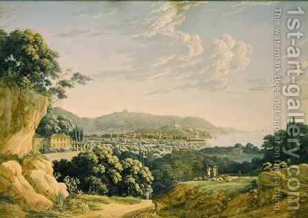 View of Nice, Fort Montalban and Villefranche by Baron Louis Albert Bacler d'Albe - Reproduction Oil Painting