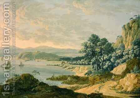 View of Nice - between the port and Fort Montalban by Baron Louis Albert Bacler d'Albe - Reproduction Oil Painting