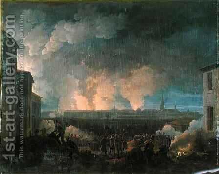 The Bombardment of Vienna by the French Army by Baron Louis Albert Bacler d'Albe - Reproduction Oil Painting