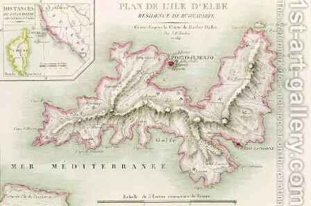 Map of the Island of Elba by (after) Bacler d'Albe, Baron Louis Albert - Reproduction Oil Painting