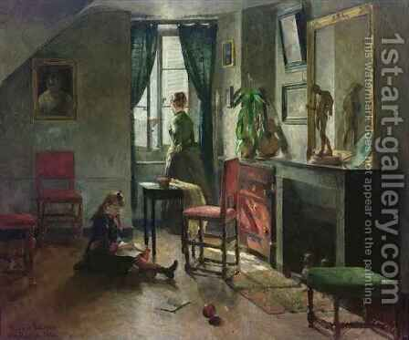Interior with Figures by Harriet Backer - Reproduction Oil Painting