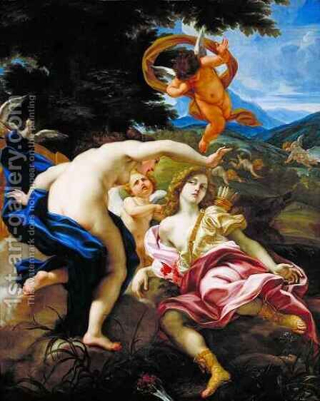 The Death of Adonis by Il (Giovanni B. Gaulli) Baciccio - Reproduction Oil Painting