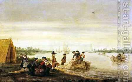 River scene with fishermen drawing nets by Barent Avercamp - Reproduction Oil Painting