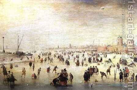 Skaters on a Frozen River by Barent Avercamp - Reproduction Oil Painting
