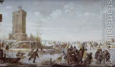 Skaters and elegant figures with horse-drawn sleighs on a frozen river by a tower by Barent Avercamp - Reproduction Oil Painting