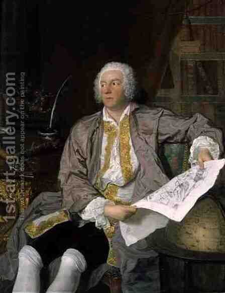 Count Carl Gustaf Tessin (1695-1770) by Jacques-André-Joseph Aved - Reproduction Oil Painting