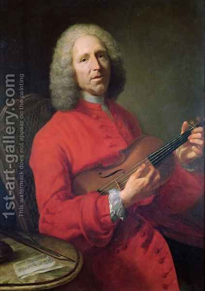 Jean-Philippe Rameau (1683-1764) with a Violin by Jacques-André-Joseph Aved - Reproduction Oil Painting