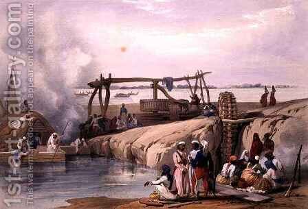 A Scene on the River Sutledge, in the Punjab by (after) Atkinson, James - Reproduction Oil Painting