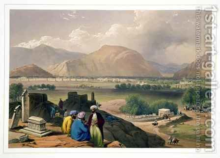 Caubul, from a Burying Ground on the Mountain Ridge, North-East of the City, from 'Sketches in Afghaunistan' by (after) Atkinson, James - Reproduction Oil Painting