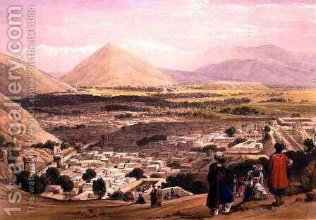 The Balla Hissar and City of Caubul, from the Upper Part of the Citadel, from 'Sketches in Afghaunistan' by (after) Atkinson, James - Reproduction Oil Painting