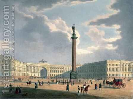 The Alexander Column and the Army Headquarters in St. Petersburg by (after) Arnout, Louis Jules - Reproduction Oil Painting