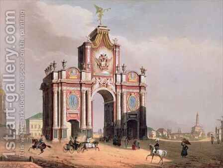 The Red Gate in Moscow by (after) Arnout, Louis Jules - Reproduction Oil Painting