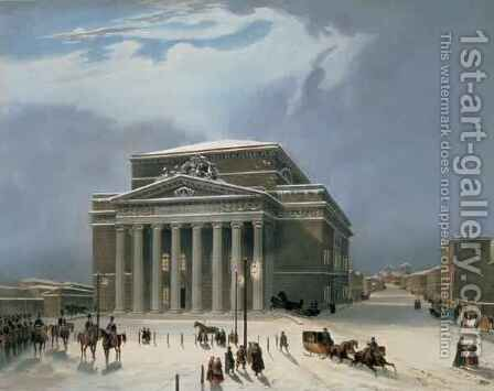 The Bolshoi Theatre in Moscow by (after) Arnout, Louis Jules - Reproduction Oil Painting
