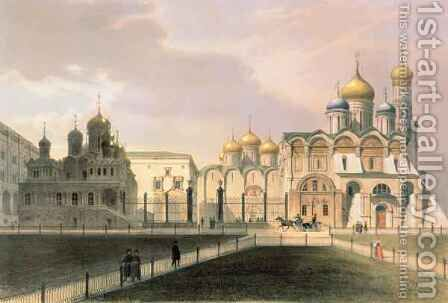 View of the Cathedrals in the Moscow Kremlin by (after) Arnout, Louis Jules - Reproduction Oil Painting