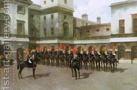 The Blues and Royals, Guard Mounting Parade, Whitehall by Charles Edouard Armand-Dumaresq - Reproduction Oil Painting