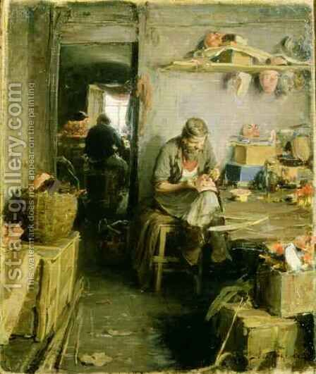 In the Mask Studio by Abram Efimovich Arkhipov - Reproduction Oil Painting
