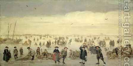Winter Scene with Numerous Figures on the Ice by Arent Arentsz - Reproduction Oil Painting