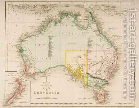 Map of Australia and New Zealand by J. Archer - Reproduction Oil Painting