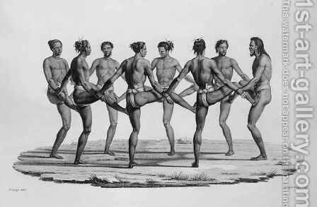 Native Dance in the Caroline Islands, from 'Voyage Autour du Monde sur les Corvettes de L'Uranie 1817-20' by (after) Arago, Jacques Etienne Victor - Reproduction Oil Painting