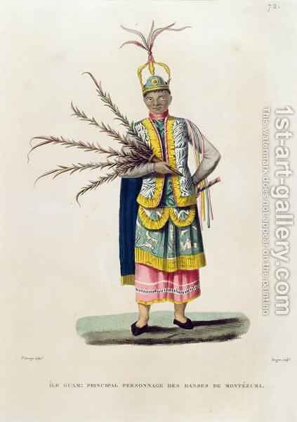 Island of Guam Principal Character from the Dances of Montezuma, from 'Voyage Autour du Monde sur les Corvettes de L'Uranie 1817-20' by (after) Arago, Jacques Etienne Victor - Reproduction Oil Painting