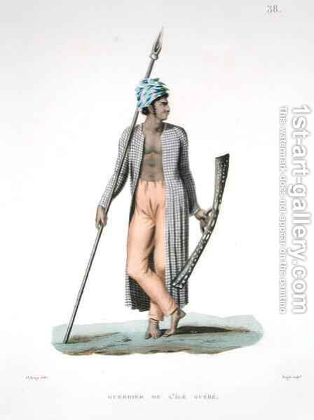 Warrior from the Island of Guebe, from 'Voyage autour du Monde (1817-20)' by (after) Arago, Jacques Etienne Victor - Reproduction Oil Painting