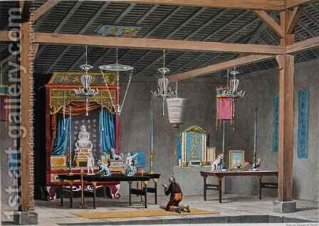 View of the Interior of the Chinese Temple at Coupang, Timor, from 'Voyage Autour du Monde sur les Corvettes de L'Uranie 1817-20' by (after) Arago, Jacques Etienne Victor - Reproduction Oil Painting