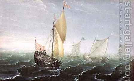 Shipping in Windswept Waters by Aert van Antum - Reproduction Oil Painting