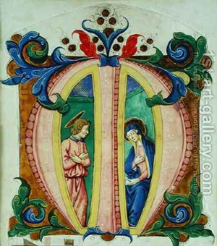 Historiated initial 'M' depicting the Annunciation by Antonio di Niccolo di Lorenzo - Reproduction Oil Painting