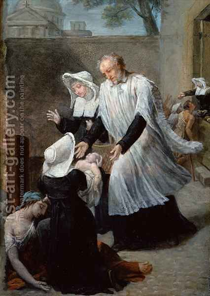St. Vincent de Paul Helping the Plague-Ridden by Antoine Jean Joseph Ansiaux - Reproduction Oil Painting