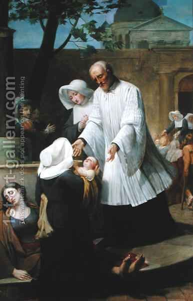 St. Vincent de Paul Helping the Plague-Ridden 2 by Antoine Jean Joseph Ansiaux - Reproduction Oil Painting