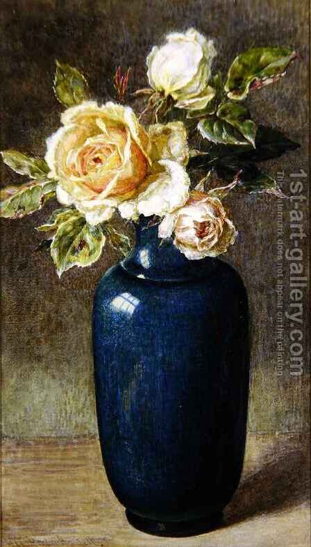 Vase of Roses by Helen Cordelia Coleman Angell - Reproduction Oil Painting