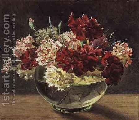 A Bowl of Carnations by Helen Cordelia Coleman Angell - Reproduction Oil Painting
