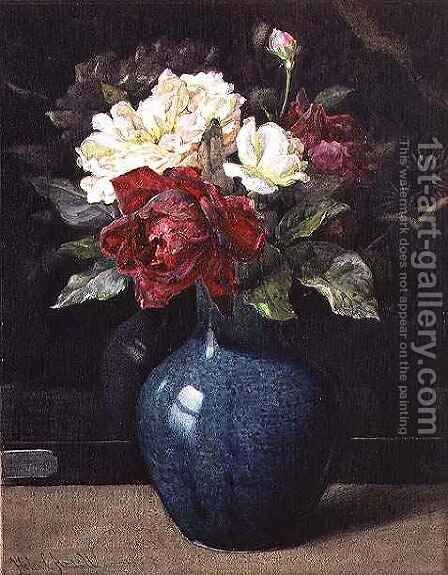 Roses in a Vase by Helen Cordelia Coleman Angell - Reproduction Oil Painting