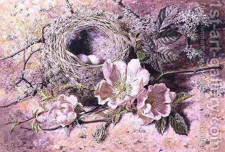Blossom and Bird's Nest by Helen Cordelia Coleman Angell - Reproduction Oil Painting