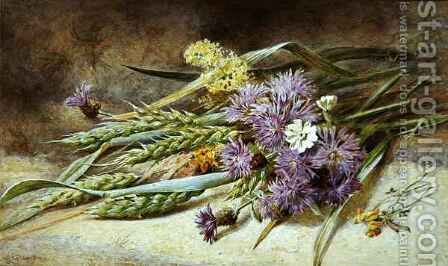 Green Wheat and Wild Flowers by Helen Cordelia Coleman Angell - Reproduction Oil Painting