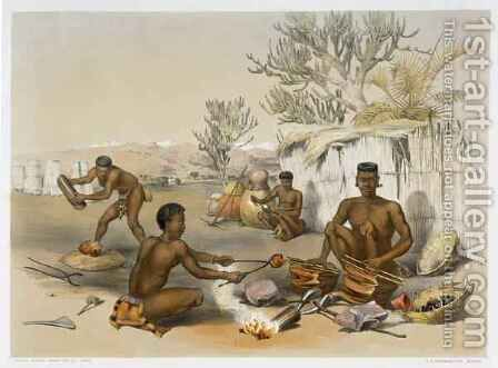 Zulu Blacksmiths at Work, plate 23 from 'The Kafirs Illustrated' by (after) Angas, George French - Reproduction Oil Painting