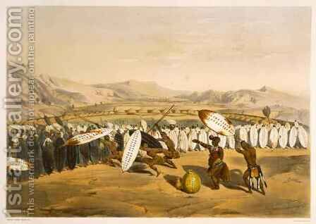 Umpanda Reviewing his Troops at Nonduengi, plate 12 from 'The Kafirs Illustrated' by (after) Angas, George French - Reproduction Oil Painting